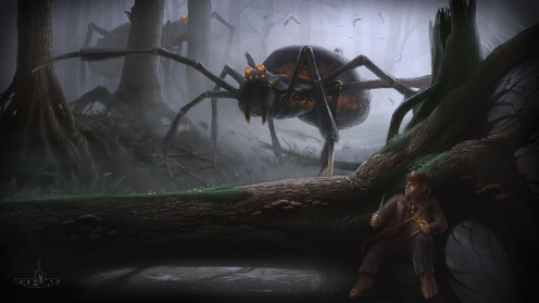 Bilbo and the giant spiders by Marc Daniel Goecke